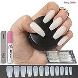 500 Stück künstliche Nägel, Sarg/ Ballerina-Form, 12 Größen - mittelgroß, komplett abdeckende Nägel für Nagel-Salons & Nagelkunst zum Selbermachen, inkl. Kleber  und  kleiner Feile