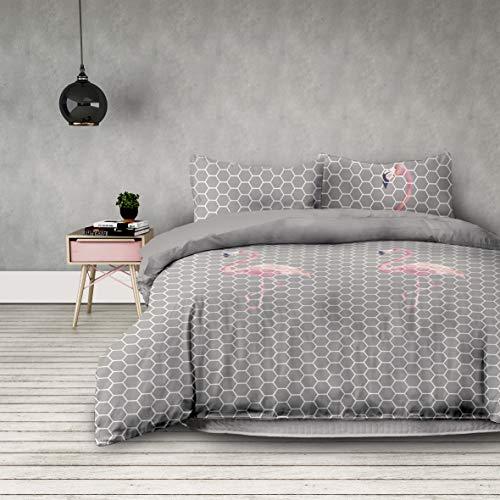 AmeliaHome 01773 3tlg Bettwäsche 200x220 cm mit 2 Kissenbezügen 80x80 cm geometrisches Muster 3-teiliger Set Bettbezug Microfaser Reißverschluss Basic Collection Flamingo Light grau stahl rosa