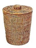 Kouboo La Jolla Rattan Round Waste Basket with Plastic Insert and Lid, Honey Brown_P, Rattan und Korbweide, Honigbraun, 24.13 x 24.13 x 31.75 cm