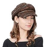 FancetHat Damen Wollmischung Ballonmütze Wintermütze Kappe 55-58cm Kaffeebraun