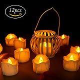 LED Kerzen, innislink LED Flammenlose Kerzen mit Timerfunktion 12pcs Teelichter Flackern Elektrische Kerze Lichter Batterie Dekoration für Weihnachtsbaum Ostern Hochzeit Party - Weiß (Flicker Gelb)