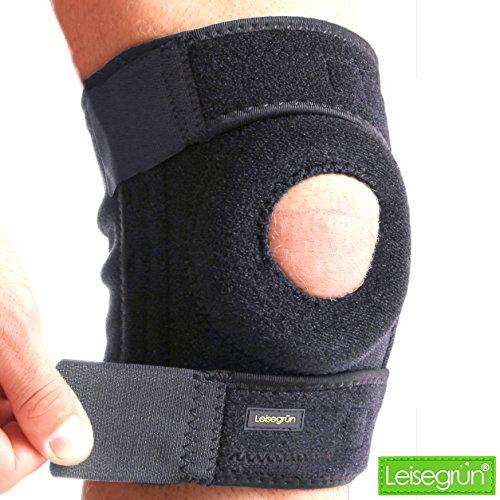 Kniebandage by Leisegrün – Schützt Meniskus, Bänder und Patella bei Sport und Freizeit - Knieorthese geeignet für Damen, Herren & Kinder, rechts und links tragbar, elastisch & atmungsaktiv