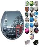 Grafner MDF WC Sitz mit Absenkautomatik viele schöne Motive zur Auswahl - stabile Qualität - einfache Monatge WC Deckel Klobrille Softcolse (London)