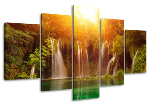 Visario Leinwandbilder 5503 Bild auf Leinwand Wasserfall, 160 x 80 cm , 5 Teile