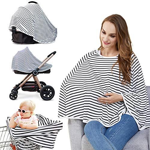 Stilltuch Stillschal für Unterwegs Weich Nursing Cover Atmungsaktive Warenkorb Swaddle Decke Pflegeabdeckung für Baby Mutter, 360°Full Privacy Breastfeeding Protection