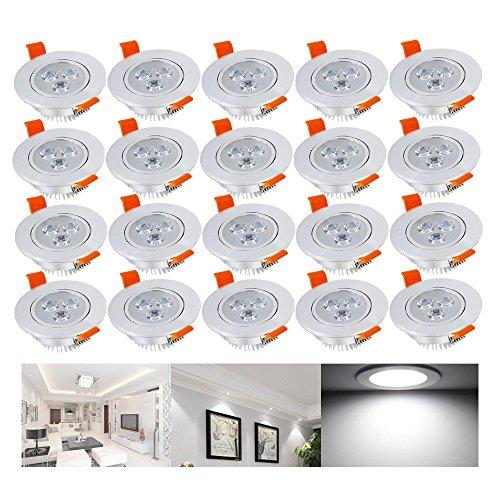 Hengda 20X 3W LED SMD Spot Einbauleuchte Strahler Decken Lampe 6000-6500k Kaltweiß AC 230V +Treiber