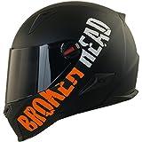 Broken Head BeProud orange-schwarz-matt Ltd. | Motorradhelm inkl. gratis schwarzem Visier | Supermoto-Helm, Naked-Bike-Helm, Sport-Helm (M 57-58 cm)