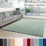 Shaggy-Teppich | Flauschiger Hochflor für Wohnzimmer, Schlafzimmer, Kinderzimmer oder Flur Läufer | einfarbig, schadstoffgeprüft, allergikergeeignet | Mint Grün - 40 x 60 cm