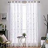 MIULEE 2 Panels Leaves Embroidery Sheer Curtains Grommet Window Curtain Semi Voile Drapes Panels for Living Room Bedroom
