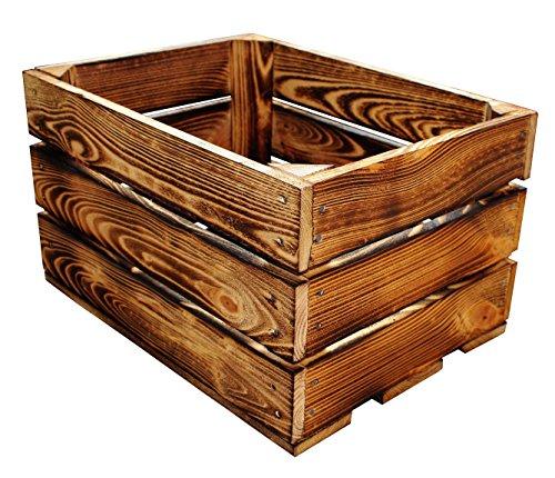 1 Stück NEUE Holzkisten Obstkisten Apfelkisten Weinkiste 40x30x23,5 cm TOP (Geflammte)
