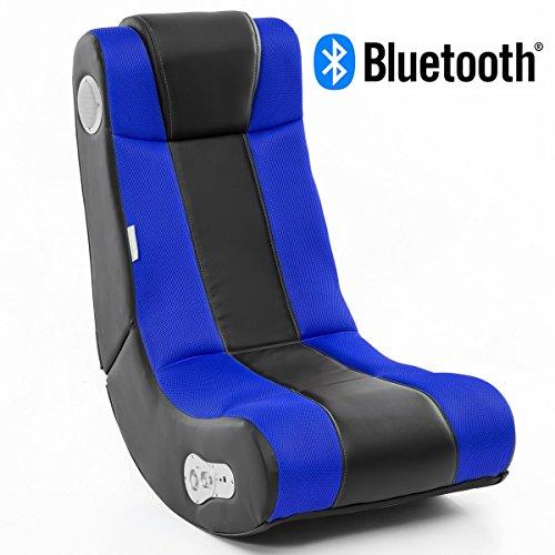 WOHNLING Soundchair InGamer in Schwarz Blau mit Bluetooth | Musiksessel mit eingebauten Lautsprechern | Multimediasessel für Gamer | 2.1 Soundsystem - Subwoofer | Music Gaming Sessel Rocker Chair