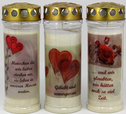 Kerzen Junglas Grablichtkerze, Grabkerze, 3er Set- 20x7,5 cm - 3862 - ca. 7 Tage Brenndauer je Grablicht – Grabkerze mit Motiv und Spruch - Trauerkerze mit Foto und Spruch
