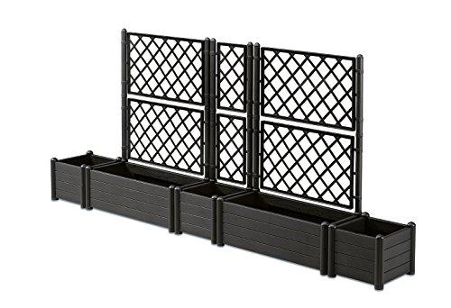Kreher XXL Spalier-Set Bestehend aus Drei Spalieren und Zwei Pflanzkästen aus Kunststoff mit Holz-ähnlicher Maserung in Anthrazit! Für bis zu 250 cm Sichtschutz ! Topp