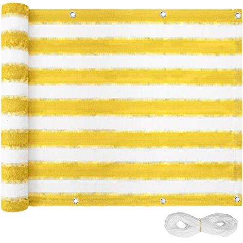 TecTake Balkon-Sichtschutz   Balkonbespannung   Witterungsbeständig und Wasserabweisend   - verschiedene Farben und Größen (Gelb-Weiß   75x600 cm   no. 402877)