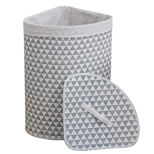 WM Homebase Wäschekorb aus Bambus Faltbar Aufbewahrungsbox Herausnehmbaren Wäschesack mit Deckel Dreieck für Ecken 35x35x60CM