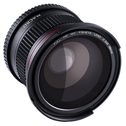 Beschoi 58mm Fisheye Objektiv Fischaugen mit Makro für Canon Nikon Sony DSLR Kamera (180 Grad Fischaugen Objektiv, 0,35x Weitwinkelobjektiv, 10x Makro Objektiv)