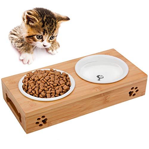 Legendog Katze Napf-Set, Anti-Rutsch Katzennäpfe Keramik Set mit Bambus Ständer Haustier-Zufuhr Bambus Stent Doppel Schüssel für Hund Katze