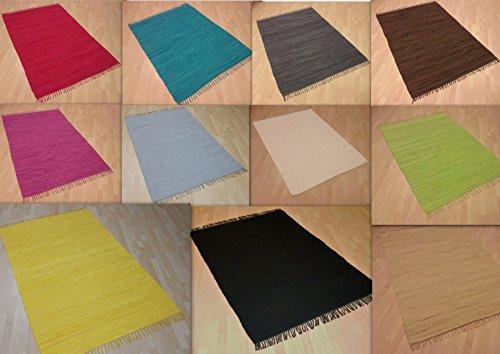 Handwebteppich Fleckerlteppich einfarbig uni 100% Baumwolle Handweb Teppich Fleckerl Waschbar NEU (Rot, ca. 60x110 cm)