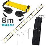 #DoYourFitness Koordinationsleiter / Fitnessleiter - Länge 4m 6m 8m - Trainingsleiter (engl. Agility Ladder) bzw. Konditionsleiter für Beweglichkeitsübungen / Schnelligkeitstraining 8m gelb / schwarz 'Callustus'