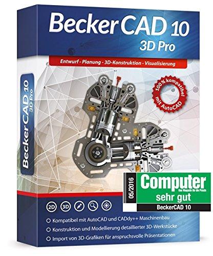 Becker Cad 10 3D Pro für Microsoft Windows 10-8-7-Vista-XP   Cad-Software für Architektur, Maschinenbau und Elektrotechnik   3D Zeichenprogramm kompatibel mit Autocad