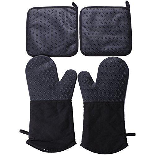 Webake 2 Silikon Ofenhandschuhe Handschuhe und 2 Topflappen Set für Finger Hand Handgelenk Schutz Hitzebeständige Handschuhe bis zu 240℃ Non-slip Grillhandschuhe