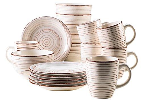 Mäser, Serie Bel Tempo, Frühstück-Set aus Steingut, 18-teilig für 6 Personen, Vintage Geschirr-Service, handbemalt, beige