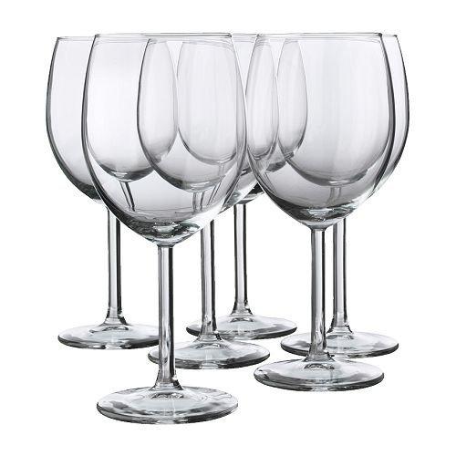IKEA 6-er Set Rotweinglas 'SVALKA' Gläserset mit sechs Rotweingläsern - mit 30cl Inhalt - 18cm hoch - spülmaschinenfest