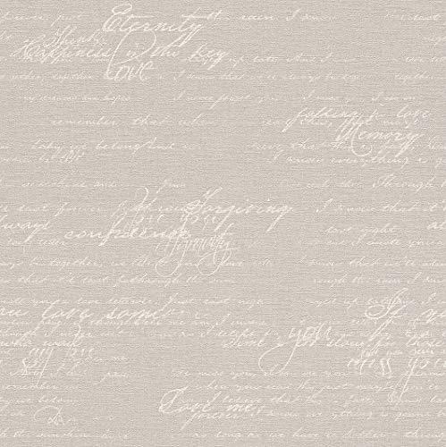 rasch Tapete 449556 aus der Kollektion Florentine II - Vliestapete in Braun mit beiger, kalligraphischer Schrift im Vintage Stil - 10,05m x 53cm (L x B)