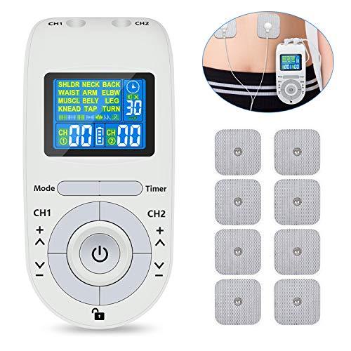 Digital TENS Tensgerät Reizstromgerät EMS Elektrostimulationsgerät, 2 Therapien 2 Kanäle, Intensität und Behandlungszeit einstellbar, zur Schmerzlinderung Muskeltraining regeneration und Massage