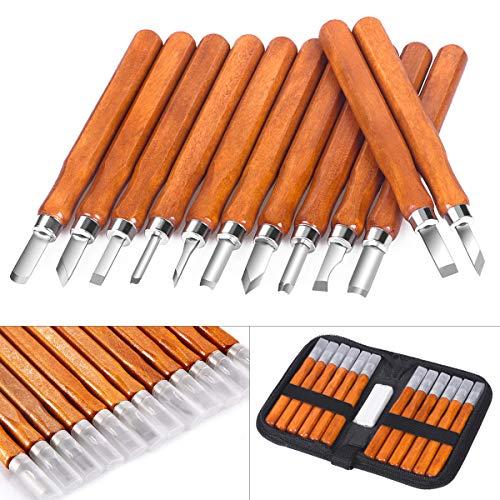 Holz-Schnitzwerkzeug Set, SanGlory 12 stück Holz-Schnitzmesser mit Schleifsteine, Professional Holzschnitzerei Messer Werkzeuge für Holz, Obst, Gemüse, Carving DIY, Skulptur und Wax