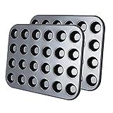 Besnail 2er 24er Mini-Muffinform, Backblech antihaft für Muffins,Muffin Backform mit Wärmeleitung 38.5 x 26 cm