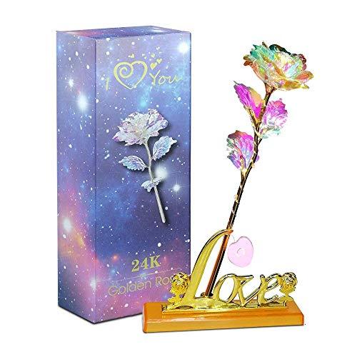 Aokebeey Rose Konservierte Blumen, 24K Galaxy Rose mit Licht und Präsentationsständer,kreative Geschenk für Hochzeit Vorschlag Verlobung Geburtstag Muttertag Jubiläum