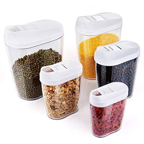 Czemo Schüttdosen Vorratsdosen 5er-Set BPA-Frei Frischhaltedosen Streudosen Vorratsbehälter für Müsli/Cornflakes
