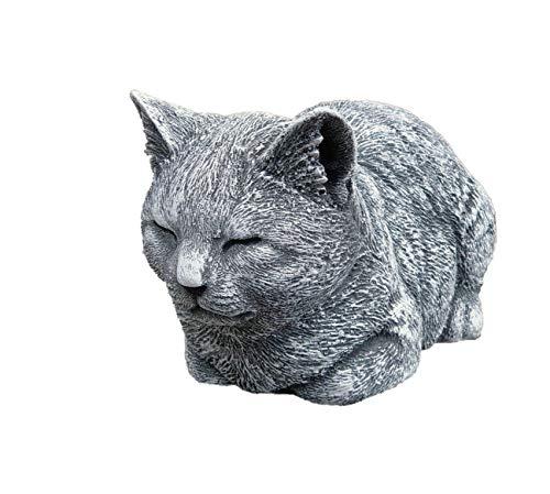 Stone and Style Steinfigur Katze ruhend, massiver Steinguss, Frost- und Wetterfest bis -30°C