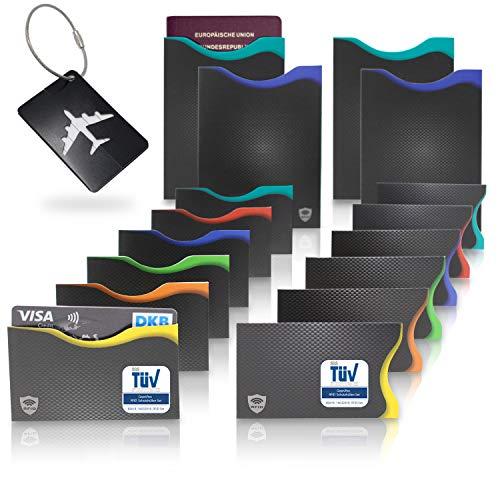 Amazy RFID & NFC Schutzhüllen (16 Stück) inkl. Kofferanhänger – TÜV-geprüft – 100% Schutz vor Identitäts- und Datendiebstahl – Extra-robuste Hüllen für Kreditkarten, EC-Karten, Ausweise und Reisepass