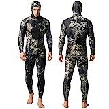 Nataly Osmann Camo Spearfishing Wetsuits Herren 3mm Premium Neopren 2-teilige Kapuzen-Super-Stretch-Tauchanzug
