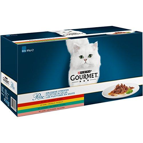 Purina Gourmet Perle Erlesene Streifen mit Huhn, Rind, Lachs und Kaninchen, Hochwertiges Nassfutter für Katzen (60 x 85g Portionsbeutel)