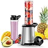 Homever Smoothie Maker, 4 Edelstahlmesser Mini Blender, Standmixer,mit 23.000 U/min, Tritan Trinkflasche, Edelstahlmesser Entsafter und Basis, 350 Watt, BPA Frei, Silber