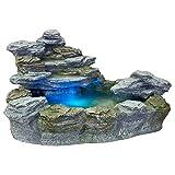 STILISTA Mystischer Gartenbrunnen 'OLYMP' in Steinoptik 100x80x60cm groß Springbrunnen inkl. Pumpe und LED- Beleuchtung rot blau gelb grün