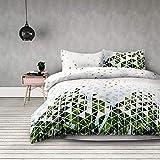 AmeliaHome 00691 Bettwäsche mit 2 Kissenbezügen - geometrisches Muster, Mehrfarbig (weiß/grün), 200x220 cm (Bettwäsche) + 80x80 cm (Kissenbezügen)