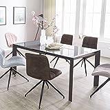 FineBuy Esszimmertisch NOAH 122-182 cm ausziehbar dunkelgrau Metall/Glas | Tisch für Esszimmer rechteckig | Küchentisch 4-8 Personen | Design Esstisch