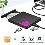 Externes CD DVD Laufwerk, Cocopa Tragbarer Typ-C USB 3.0 Slim CD DVD RW Brenner SD Karte Reader Super Laufwerk Hohe Datenübertragung für Laptop, Desktop Mac, iOS, Windows 10/8/7 / XP/Linux