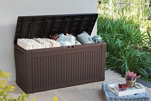 Auflagenbox / Kissenbox Koll Living 270 Liter l 100% Wasserdicht l mit Belüftung dadurch kein übler Geruch / Schimmel l Moderne Holzoptik l Deckel belastbar bis 250 KG ( 2 Personen )