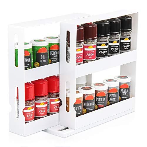 KREHMANN Gewürzregal Slide & Swivel Storage System, praktischer und effizienter Gewürzhalter für den Küchenschrank I Schwenk- und ausziehbar für mehr Platz und Ordnung