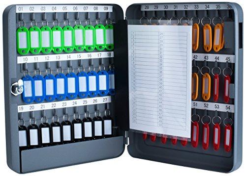 Pavo 8027040 Schlüssel-Kasten/Schrank, 54 Haken mit seitlichem Schlüsseleinwurf, dunkelgrau