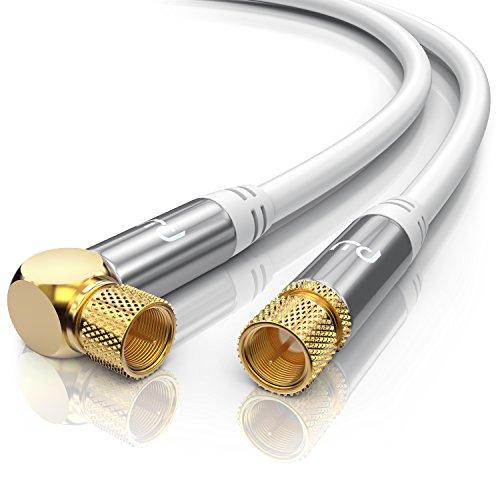 CSL - 5m 135dB HDTV Satellitenkabel 75 Ohm (90° gewinkelt) | Premium SAT Koaxialkabel | DVB-S, DVB-S2 und Kabelinternet | robuste Vollmetallstecker | Abschirmmaß 135db | hochdichte 4-fach Schirmung | weiß / silber
