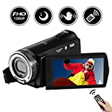 Videokamera Camcorder Full HD 1080P 24.0MP Digitalkamera 3.0' Drehbarer LCD-Bildschirm Nachtsicht Vlogging Kamera 16X Digitalzoom mit Fernbedienung