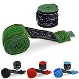 Boxbandagen mit Daumenschlaufe für sicheren Halt (3m und 4,5m) - Halb-Elastische Profi Hand Bandagen zum Boxen, Kickboxen & MMA - Faustbandagen Set in schwarz, rot, blau & grün - Training Box Bandages