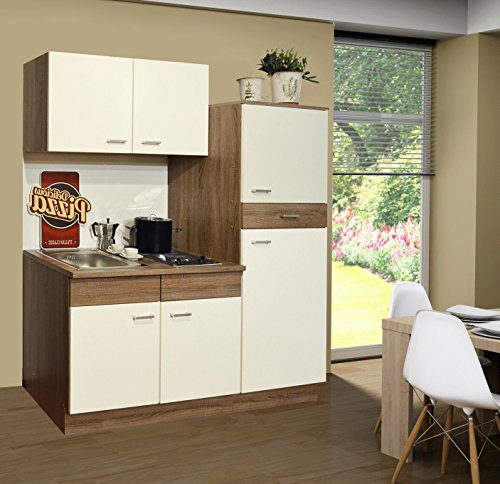 Singleküche Pantryküche Küche Kühlschrank Spüle Kochplatten Trüffel 1,60 m