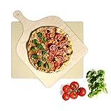 KLAGENA Pizzastein für Backofen und Grill, set inkl. Pizzaschaufel mit 2 Jahre Geld-zurück-Garantie, Brotbackstein-Set aus Cordierit 38x30x1.5 cm